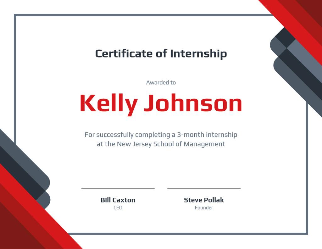 Business School Internship in Red and White Certificate – шаблон для дизайну