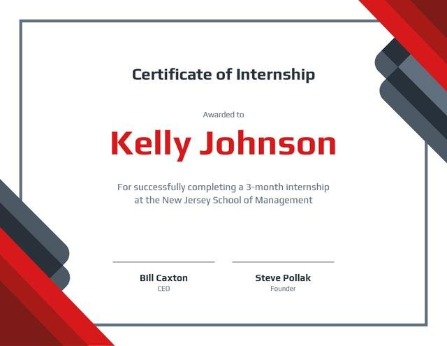 Business School Internship in Red and White Certificate Design Template