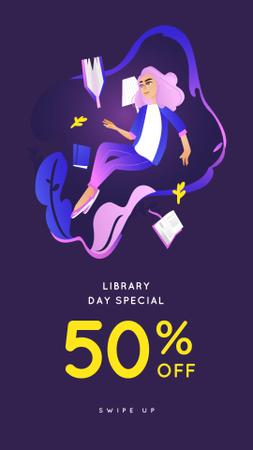 Plantilla de diseño de Library services offer with Girl Reading Instagram Story