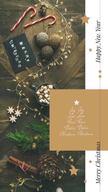 Template di design Christmas decorations and cup with cocoa Instagram Story
