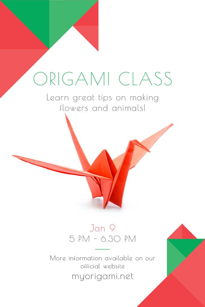 Origami Classes Invitation Paper Bird in Red — Créer un visuel