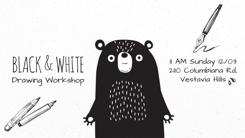 Character Drawing Scary Cartoon Bear — Modelo de projeto