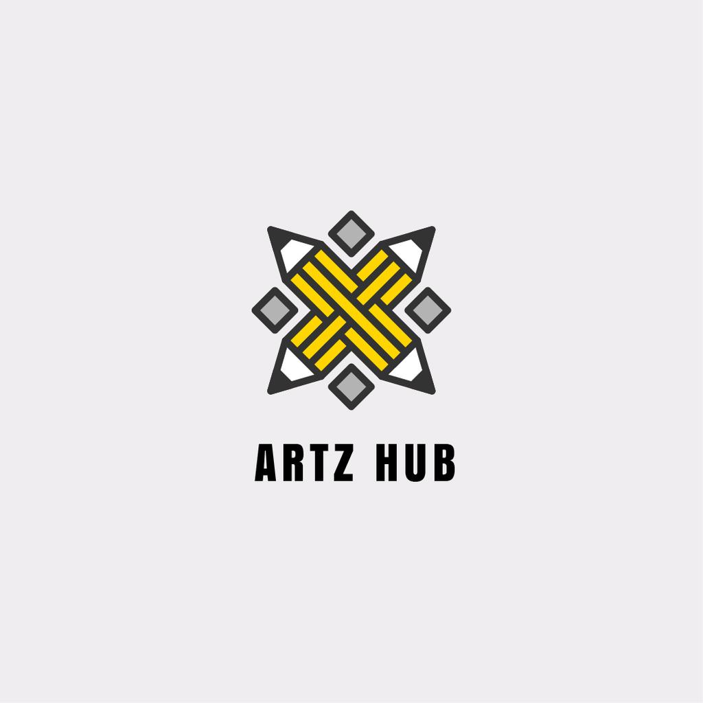 Arts Hub Ad with Crossed Pencils in Yellow — Modelo de projeto