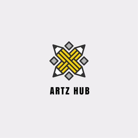 Arts Hub Ad with Crossed Pencils in Yellow Logo Modelo de Design