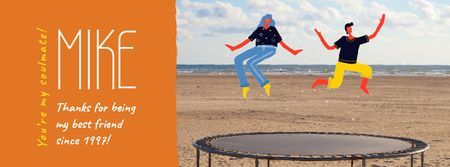 Best Friends Day People Jumping on Trampoline Facebook Video cover Design Template