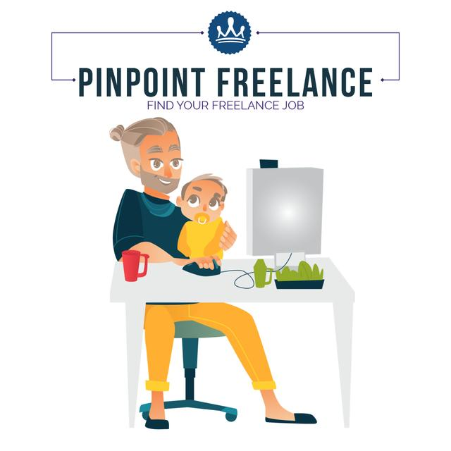 Freelancers working at home Animated Post Modelo de Design