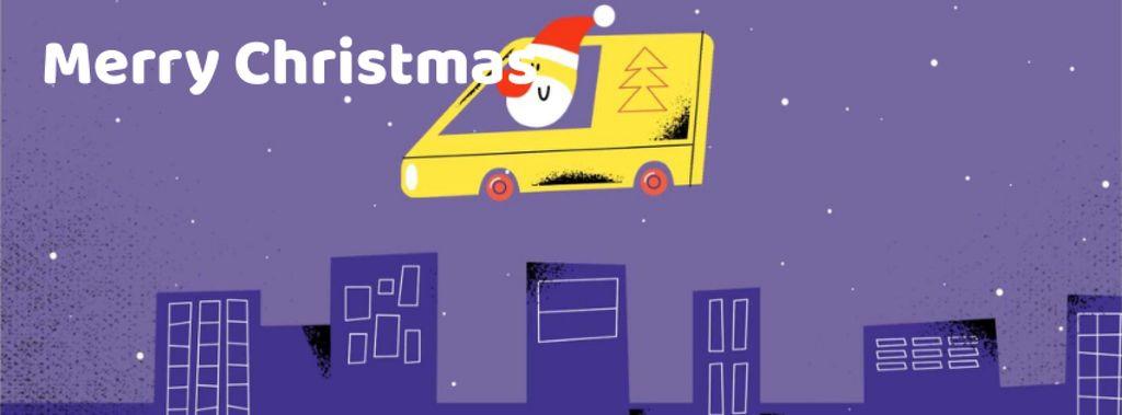 Santa delivering gifts in city — Modelo de projeto