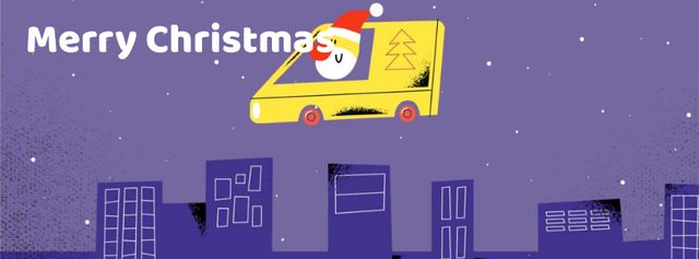 Plantilla de diseño de Santa delivering gifts in city Facebook Video cover