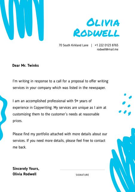 Professional copywriter motivation letter Letterhead Modelo de Design