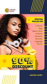 Fashion Sale Stylish Woman in Headphones