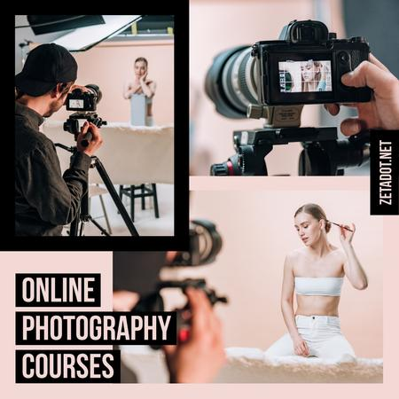 Photography Courses Ad Photographer and Woman in Studio Instagram Modelo de Design