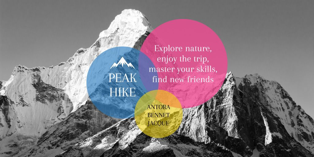 Hike Trip Announcement Scenic Mountains Peaks   Twitter Post Template — Crea un design