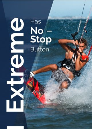 Plantilla de diseño de Extreme Inspiration Man Riding Kite Board Flayer
