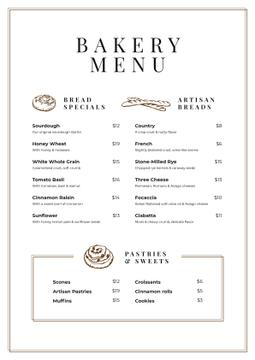Bakery and Pastry list