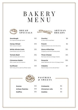 Ontwerpsjabloon van Menu van Bakery and Pastry list