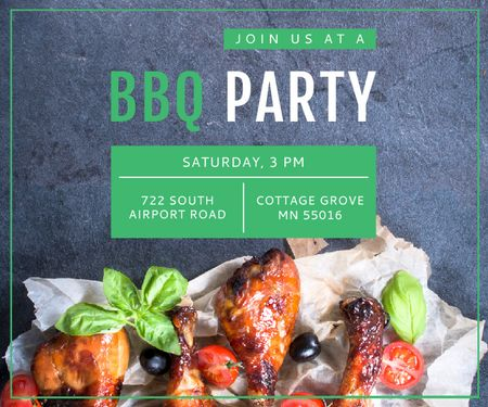 BBQ Party Invitation Grilled Chicken Large Rectangle Modelo de Design