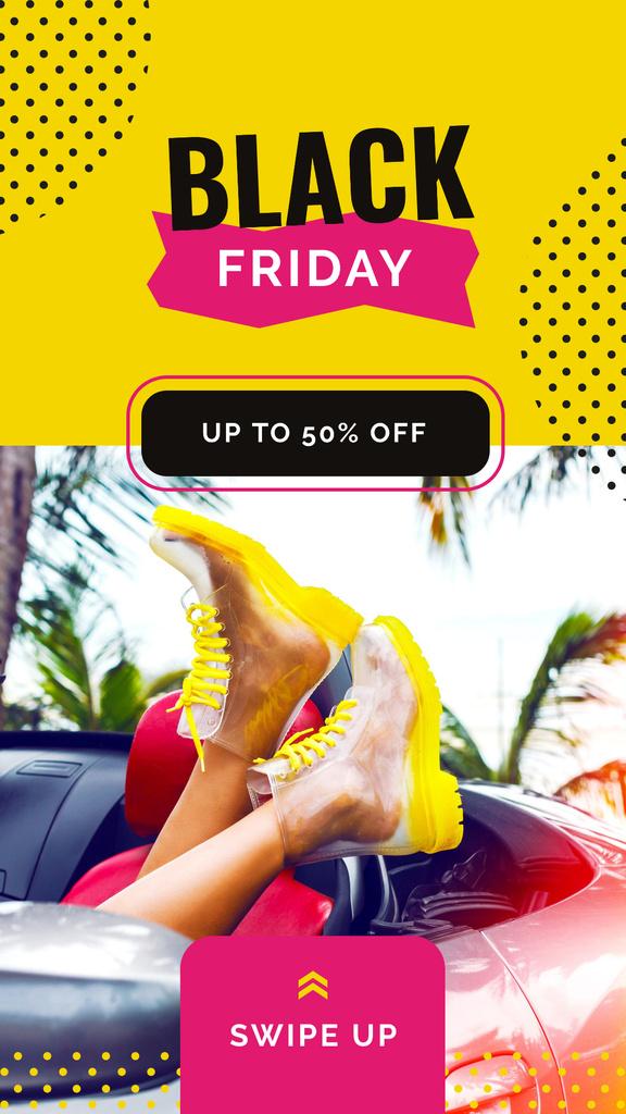 Black Friday Ad Female legs in transparent boots — Maak een ontwerp