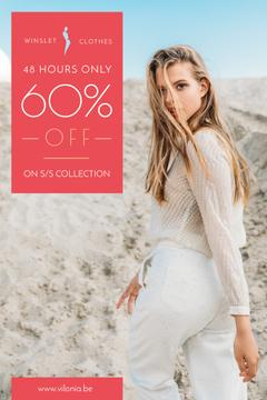 Clothes Sale Woman in White Outfit  | Pinterest Template