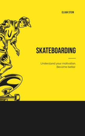 Plantilla de diseño de Man Riding Skateboard in Yellow Book Cover