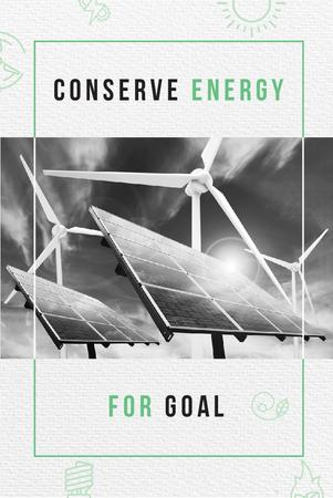 Plantilla de diseño de Green Energy with Wind Turbines and Solar Panels Pinterest