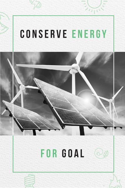 Template di design Green Energy with Wind Turbines and Solar Panels Pinterest