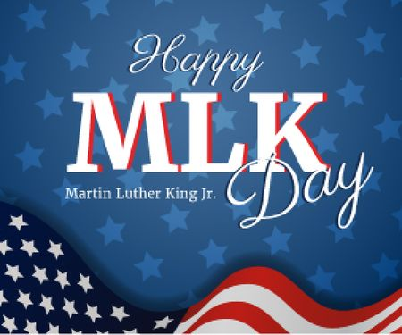 Plantilla de diseño de Martin Luther King Day Greeting with Flag Medium Rectangle