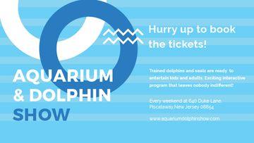 Aquarium Dolphin show invitation in blue