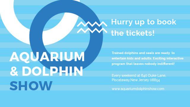 Ontwerpsjabloon van Title van Aquarium Dolphin show invitation in blue
