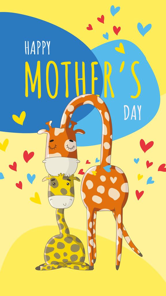 Giraffe kissing its baby — Modelo de projeto