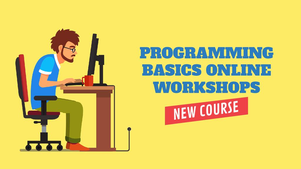 Programming Workshop Announcement Man Working on Computer — Modelo de projeto