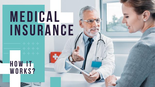 Medical Insurance Ad Doctor with Patient Youtube Thumbnail Modelo de Design