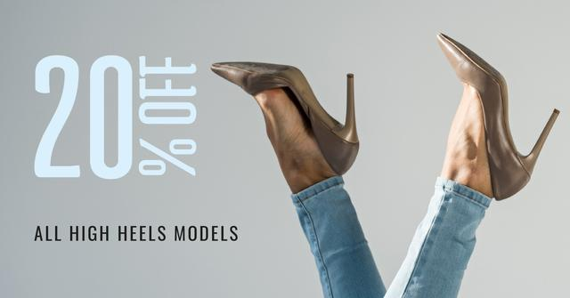 Fashion Sale Woman in Heeled Shoes Facebook AD Modelo de Design