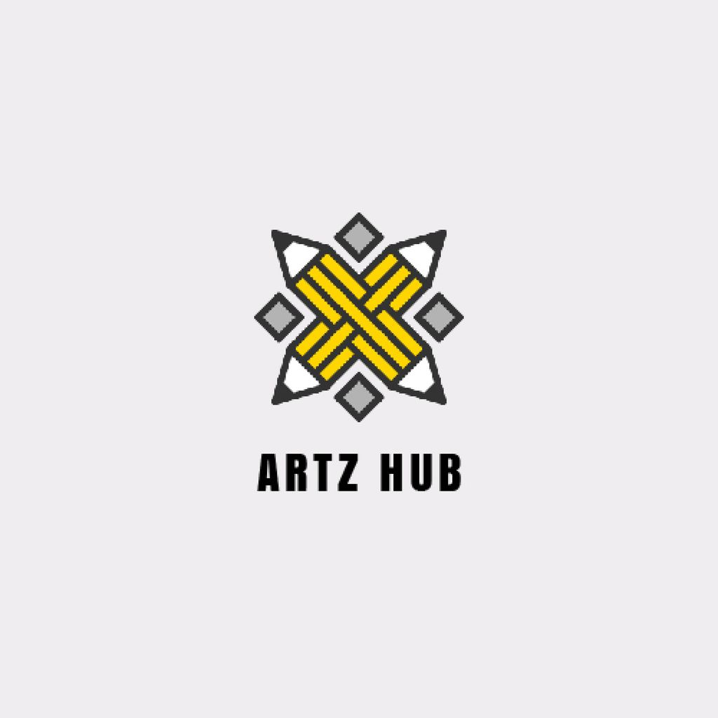 Arts Hub Ad Crossed Pencils in Yellow — Modelo de projeto