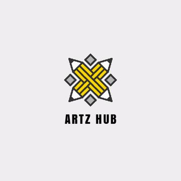 Arts Hub Ad Crossed Pencils in Yellow
