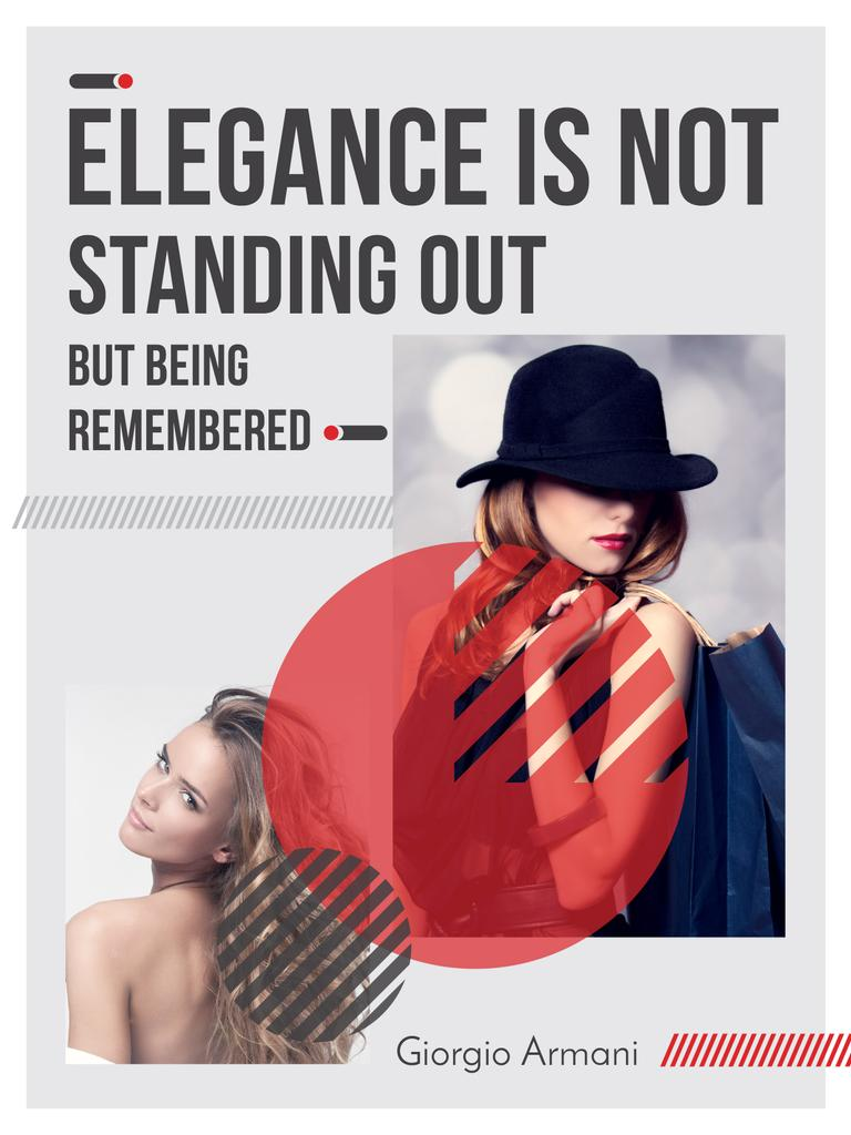 Shopping Quote Stylish Woman in Hat — Создать дизайн