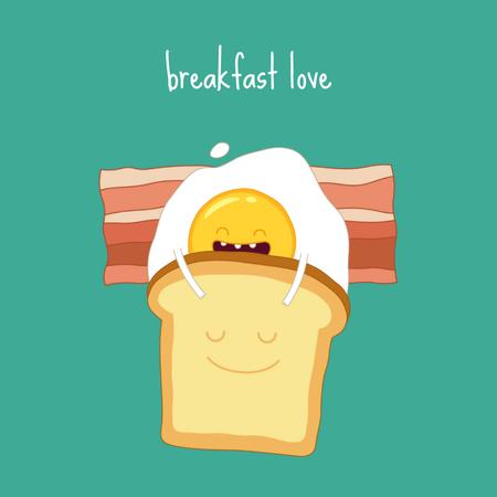Egg and toast funny cartoon characters Animated Postデザインテンプレート