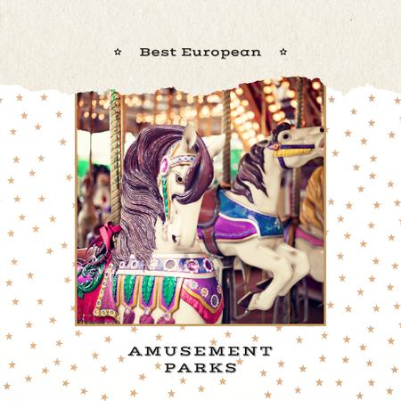 Vintage carousel horses Instagram – шаблон для дизайна