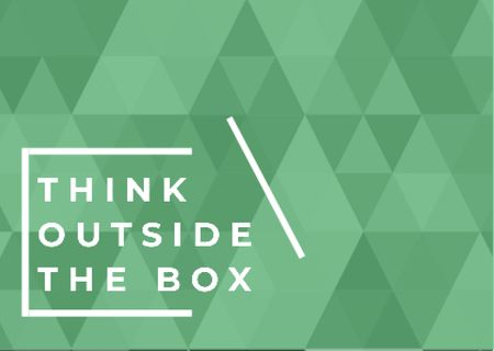 Think outside the box quote on green pattern Postcard – шаблон для дизайну