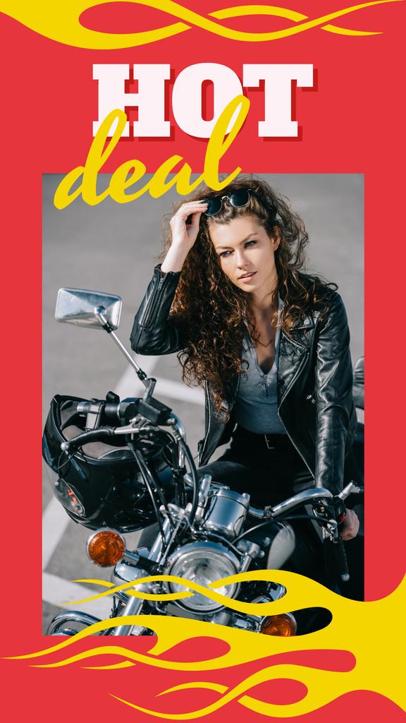 Stylish girl on motorcycle — Modelo de projeto