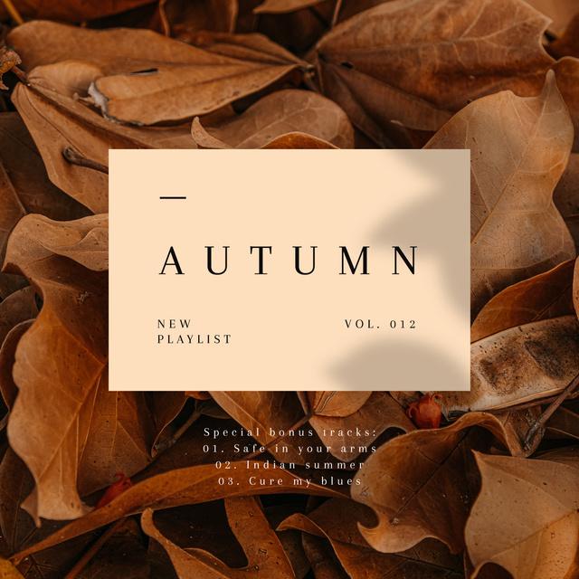 Autumn Mood with dry Leaves Album Cover – шаблон для дизайну