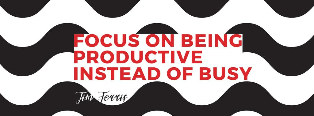 Productivity Quote on Waves in Black and White | Facebook Cover Template — Créer un visuel