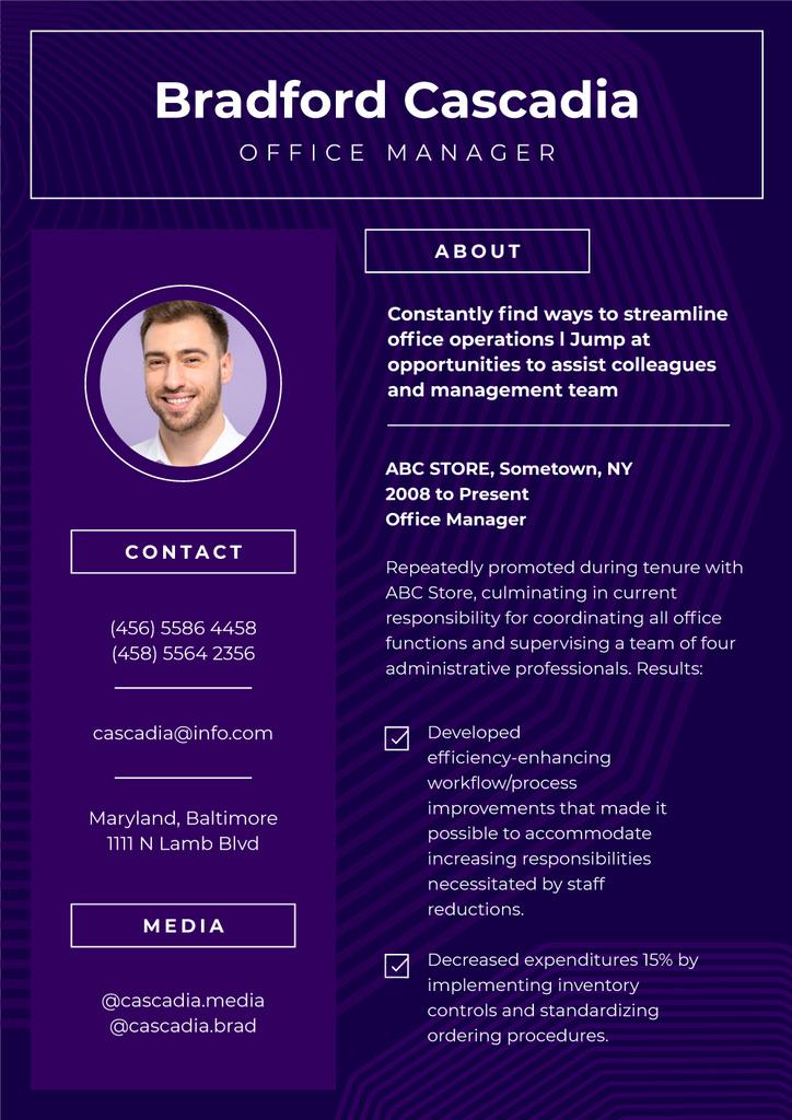 Professional Office Manager profile — ein Design erstellen