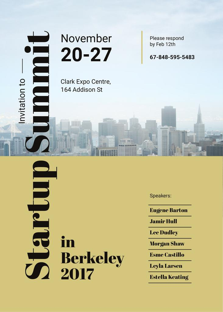 Startup Summit ad with modern city buildings — Maak een ontwerp