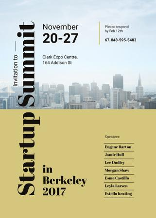 Plantilla de diseño de Startup Summit ad with modern city buildings Invitation