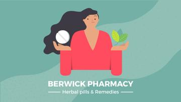 Woman holding herb and pill
