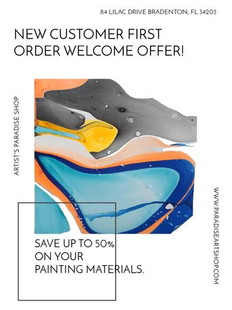 Template di design Art Painting Colorful Paint Blots Poster US
