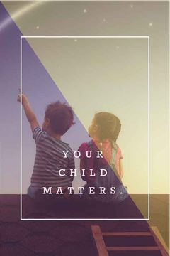 your child matters poster with two children sitting on roof