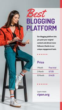 Blogging Platform Offer Woman Typing on Laptop | Stories Template