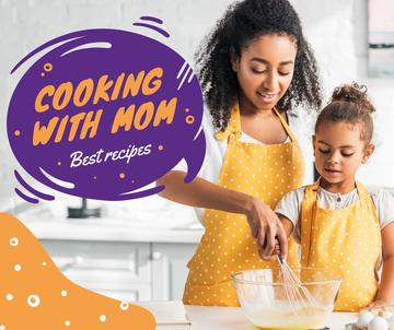 Cooking Recipe Mother with Daughter in Kitchen