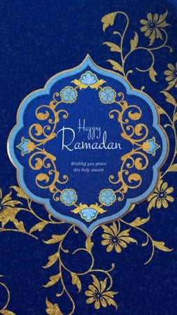 Template di design Ramadan Kareem Blue Floral frame Instagram Video Story